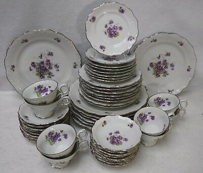 SCHUMANN china VIOLETTE pattern 48-piece SET SERVICE for 8 with Fruit Bowls
