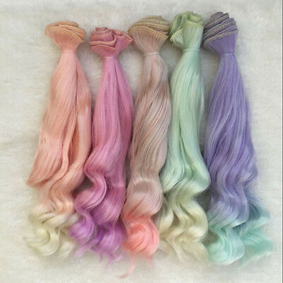25cm Long Colorful Ombre Curly Wave Doll Wigs Synthetic Hair For Dolls Hot Sale
