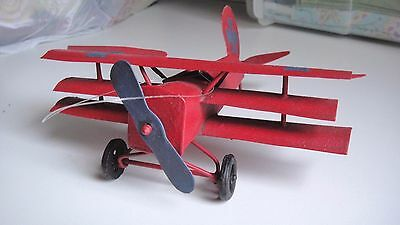 Aviation - Red Metal Triple-Winged Airplane Christmas Ornament Or Mobile