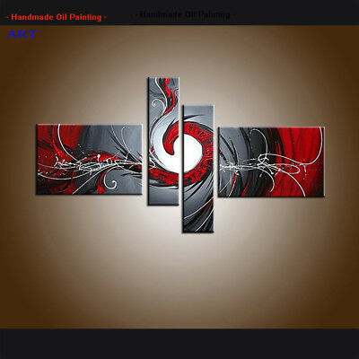 4 Panel Hand-painted Modern Abstract Oil Painting on Canvas Wall Art Framed A236