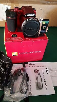 Nikon COOLPIX B500 16.0MP Digital Camera - Red & assesories.