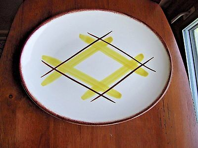 "Edwin Knowles SANTA MONICA  12"" oval Platter Yellow & Brown Plaid NM Vintage"
