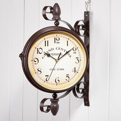 Gift Antique Wall Outdoor Station Double Sided Clock Hallway Mount Garden Wall