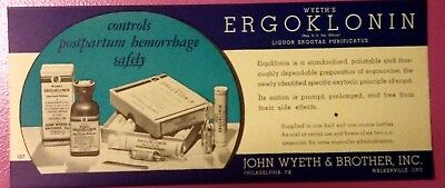 VTG John Wyeth & Brother Inc. Unserculated Salesman ad lytho ERGOKLONIN WYETH'S
