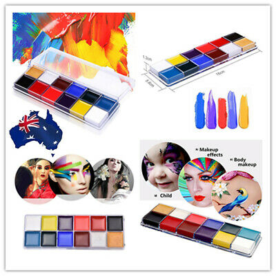 12 Colors Pro Face Body Paint Oil Painting Art Make Up Kit Sets Halloween Party