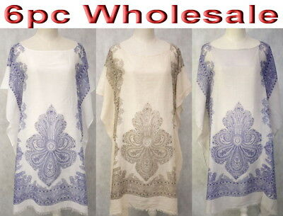 6pc Wholesale Large Cotton Women Summer Kaftan Top Beach Dress Free Size Mixed