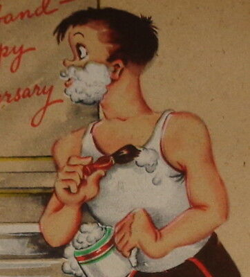 "Vintage greeting card, man shaving, husband wife Anniversary Rust Craft 6"" used"