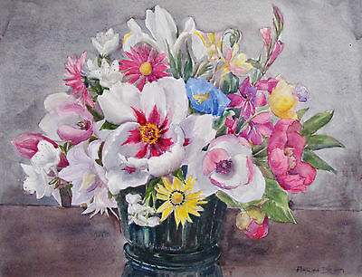 Marion Broom - Summer Bouquet - Listed Artist Watercolor - 1930 - No Reserve