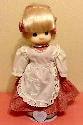 PRECIOUS MOMENTS Vinyl & Cloth Doll - Pink Dress/White Apron W/PM Metal Stand