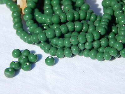 100 Vintage Beads 1960s RETRO GREEN GLASS BEADS, Round 5mm Mid-century Japanese