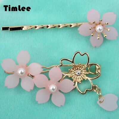 H041 Lovely Sweet Pink Cherry Blossoms Imitation Pearl Hair Clip Cute Hairpin