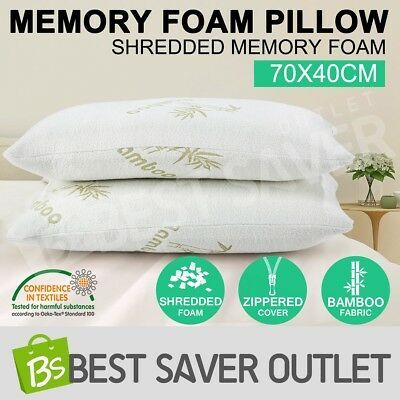 New 2 x Bamboo 70x 40CM Pillow Memory Foam Fabric Cover Pressure Relief Shredded