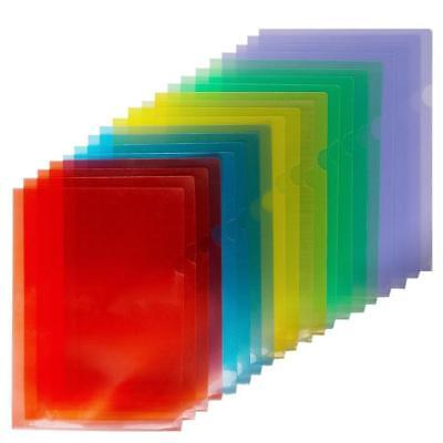 Fasmov Clear Document Folder Project Pockets, Set of 20 in 5 assorted Colors