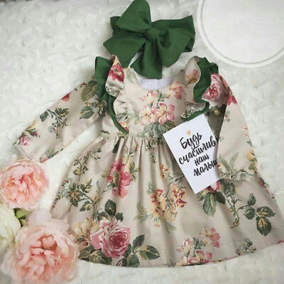 2Pcs Toddler Kids Baby Girl Long Sleeve Floral Party Dress Sundress Clothes