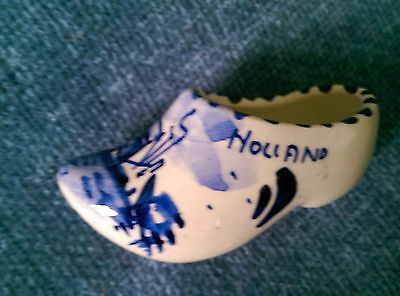 "Vintage Delft Dutch blue & White Pottery Clog marked Holland 3.5"" Handpainted"