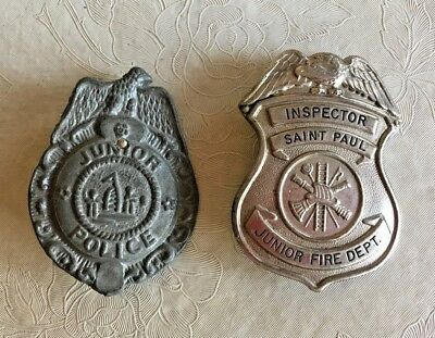 2 Metal Vintage JUNIOR Pin Backs Police and Junior Fire Dept. Inspector St. Paul