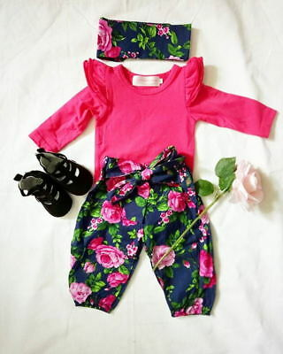 AU 3pcs Newborn Infant Baby Girls Bodysuit Floral Romper Jumpsuit Clothes Outfit