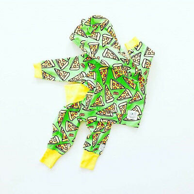 2pcs Newborn Toddler Baby Boy Girl Hooded Sweater Tops+Pants Outfits Clothes USA