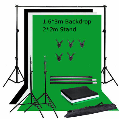 3x Photo Studio Backdrop Screen Background Crossbar Adjustable Support Stand Kit