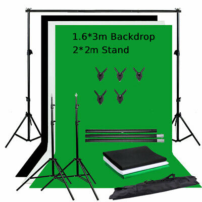 Photo Studio Black & White & Green Backdrop Chroma Screen Background Stand Kit