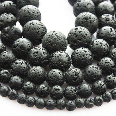 Lots Natural Nature Black Volcanic Lava Gemstone Charms Round Beads 4/6/8/10mm