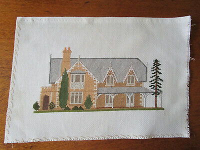 Completed Cross Stitch Of A Old Building.(Unknown To Me) 25Cms Wide X 12Cms Hig