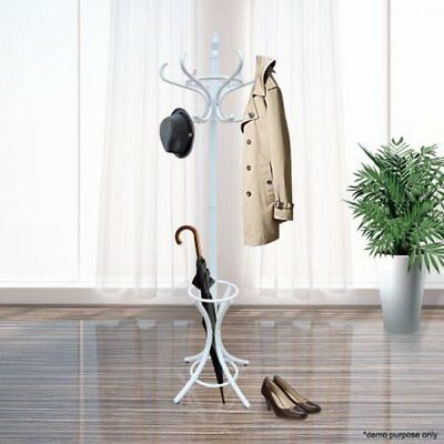 NEW Tree Style Wooden Coat / Hat Stand with 12 Hooks w/ Base Ring Umbrella Stand