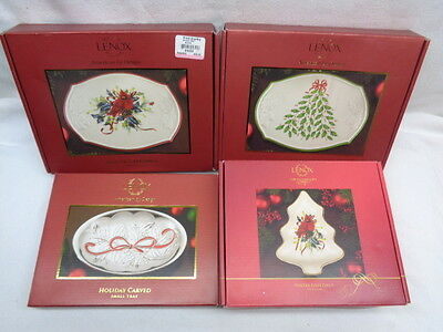 Lot of (4) Beautiful Lenox Holiday Trays New w/Original Boxes