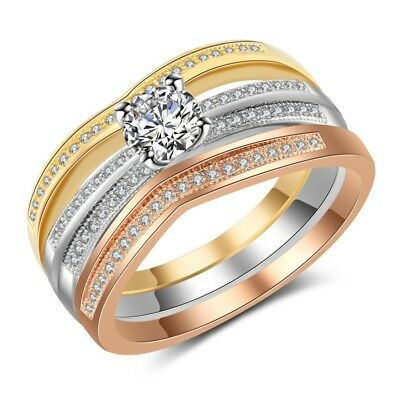 Gorgeous Women Wedding Rings 925 Silver,rose Gold,gold White Sapphire Size 6-10