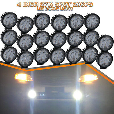 "20PCS 27W 4""Spot Round Offroad Work LED Light Bar for Driving Truck SUV UTE Boat"