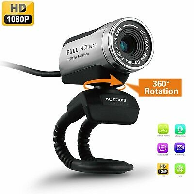 USB Webcam 1080P, AUSDOM 12.0M HD Camera Built-in Clip-On Microphone for Laptop