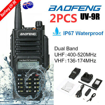 2pcs Baofeng UV-9R Walkie Talkie 10W VHF UHF Dual Band Handheld Two Way Radio