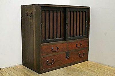 Japanese 100 Years Old Antique Chest Tansu 29.33 x 14.37 x 26.18inch F/S! (178U)