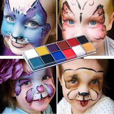 12 Color Tattoo Face Body Paint Oil Painting Art Use in Halloween For Kids Adult