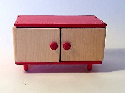 Vintage Doll's House red/beige wooden cupboard - L6