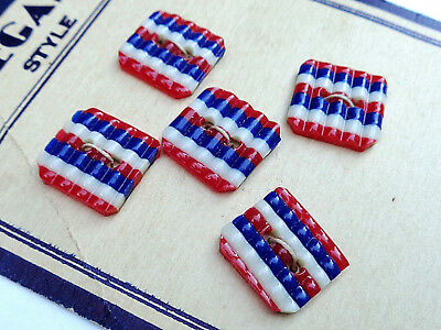 Original Vintage Card Of 5 Early Plastic Patriotic Buttons
