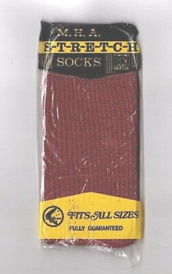 VINTAGE M.H.A. Stretch, Mens Socks, red/Brown,Retro 60's 70's New in Pack