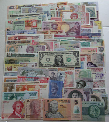 100 Banknotes paper money from 50 different Countries,All Genuine UNC