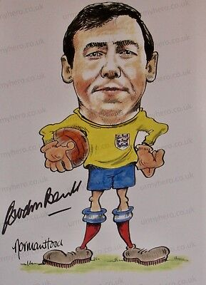 Sir Gordon Banks HAND SIGNED England 1966 Legend Caricature Photograph In Person