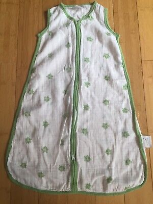 Aden + Anais sleepsack, size medium (6-12 months), white/green turtles