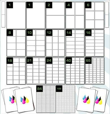 Inkjet Gloss White Labels. Photo Quality A4 Paper Labels 5 or 20 Sheets GWIP