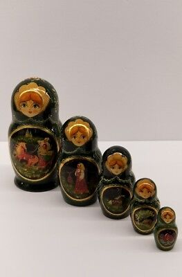 Hand Painted Rare Russian Nesting Dolls Signed By Artist Cgeuano Poccuu. 1999
