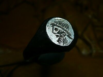 Stunning Unique Ancient Roman Silver ring Senatorial Legionary Inteligo Neptune