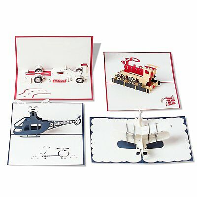 3D Pop Up Happy Birthday Gift Greeting Cards for Kids. Boys loves these (4 Pack)