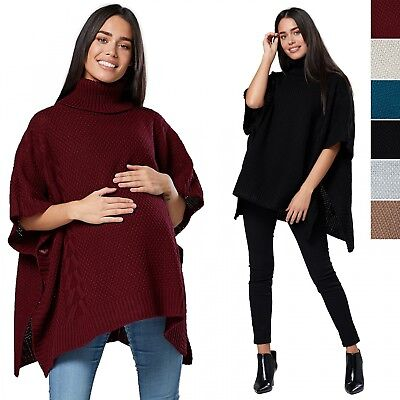 Chelsea Clark. Women's Maternity Knit Poncho Sweater Batwing Cape Jumper.964p
