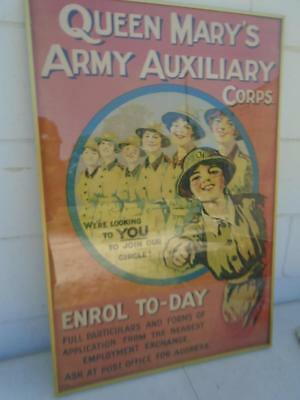 "Queen Mary's Army Auxiliary Corps ENROL TO-DAY Poster M40/59 in Frame 29""x19"""