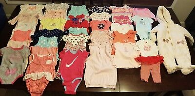 Lot Of (42) Baby Girls Clothes. NB - 3 To 9 months. Very good condition