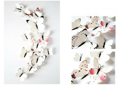 White Butterfly 3D Hot Sale Wall Decals 12pcs 6big+6small PVC 3D Butterfly Wall