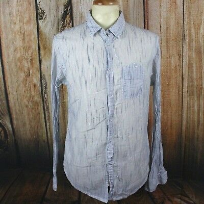 GUESS Mens Medium Shirt Slim Fit Long Sleeve Button Down White Striped VTG