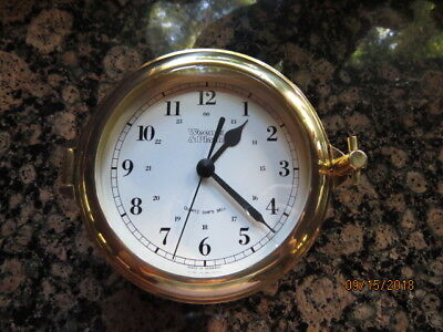 Weems & Plath Quartz Ships Bell Clock  Brass Germany It Runs And Chimes Working